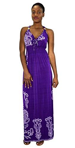 Cocktail Dresses Plus Sized (peach couture Paisley Floral Animal Print Exotic V Neck Cocktail Plus Sized Maxi Dresses,3X Plus,Purple)