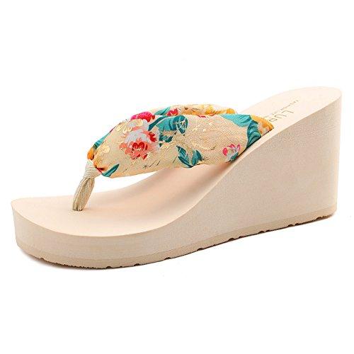- Summerwhisper Women's Bohemian Floral Wedge Thong Sandals Platform Beach Flip Flops Beige 8.5 B(M) US