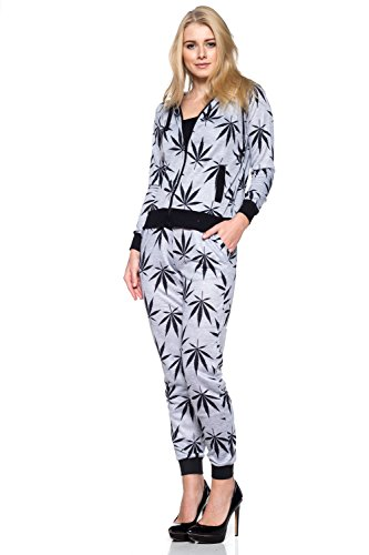 Calilogo Women's Cute Pot Leaf Marijuana Set Hoodie Outfit Comes With Free Gift (Large, Jumpsuit Gray/Black)