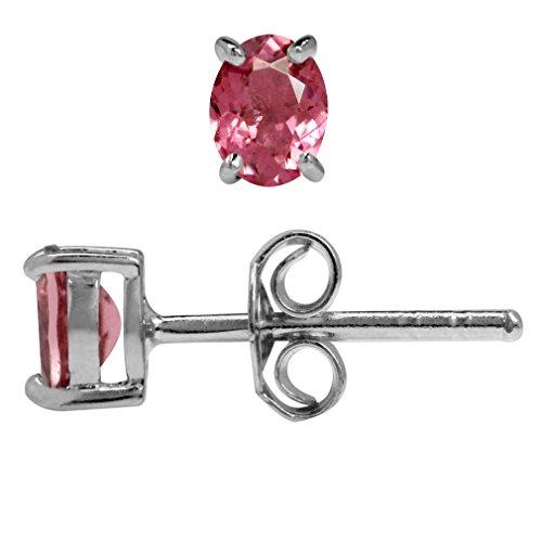 Earring Vs1 (Petite OV 5x4MM VS1-VS2 Pink Tourmaline 925 Sterling Silver Stud Earrings)
