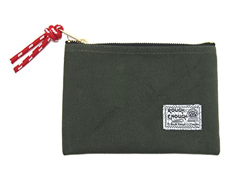 Rough Enough 7x 5 Inches Heavy Canvas Fancy Vintage Small Pouch Case (Army Green)