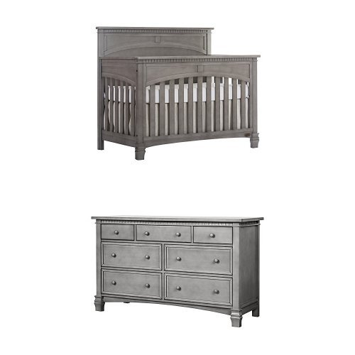 Evolur Santa Fe 5-in-1 Convertible Crib, Storm Grey with Double Dresser (Double Dentil Molding)