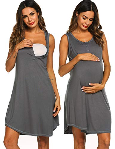 Adornlove Sleeping Dress 3 in 1 Labor/Delivery/Nursing Hospital Gown Maternity Pjs Nighties (Gray, XL) ()