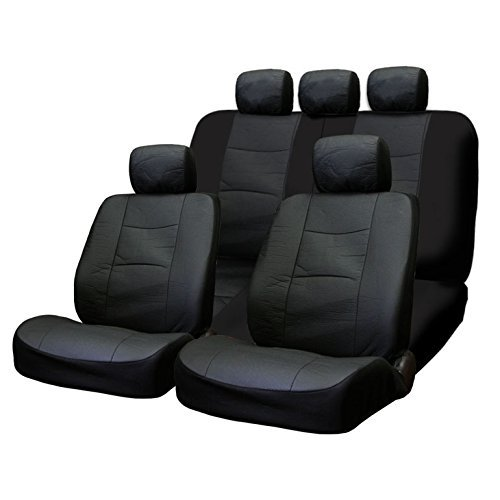 Deluxe Synthetic Leather - Yupbizauto New Deluxe Universal Size Breathable Synthetic Leather Car Truck SUV Seat Covers Set Support 40 60, 50 50 Split Feature Back Seats, Black