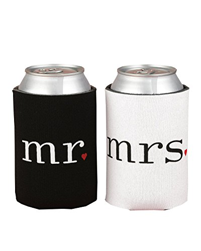 Ifavor123 Mr. and Mrs. Can Coolers Gift Set His & Hers Camping Outdoor Newlyweds Accesories (Wed Set)