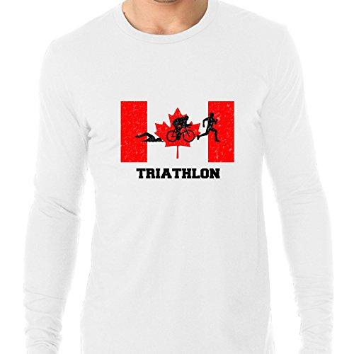 Hollywood Thread Canada Olympic - Triathlon - Flag - Silhouette Men's Long Sleeve - Apparel Canada Triathlon