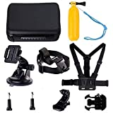 Navitech 9 in 1 Action Camera Accessory Combo Kit and Rugged Grey Storage Case Compatible with The Samsung HMX-QF30BP/EDCSENDOW 4K HD | SENSORIE WiFi Action Cam