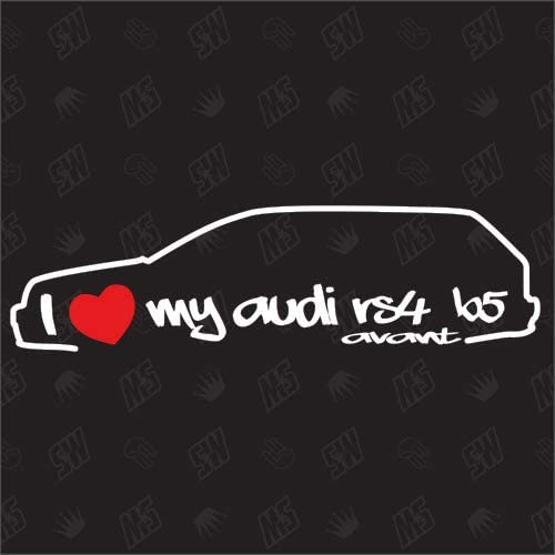 I Love My RS4 B5 Avant A/ño de construcci/ón 2000-2001 Pegatinas compatibles con Audi.