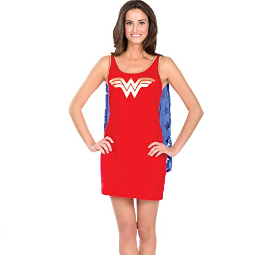 [Wonder Woman Tank Dress With Cape Womens Costume -Womens Medium] (Womens Tank Dress Wonder Woman Costumes)
