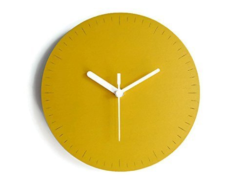 28cm Orologio da muro piccolo silenzioso in molti colori Funzionamento a batteria Realizzato in multistrato di pioppo Design orologi parete colorato di designer italiano Tagliato a laser