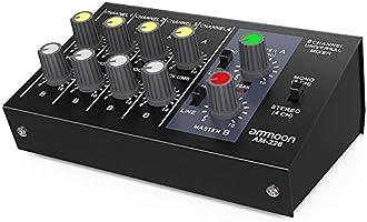 ammoon Stereo Ljudmixer Ultrakompakt låg ljudnivå 8 Kanaler Metall Mono AM-228 med Nätadapterkabel