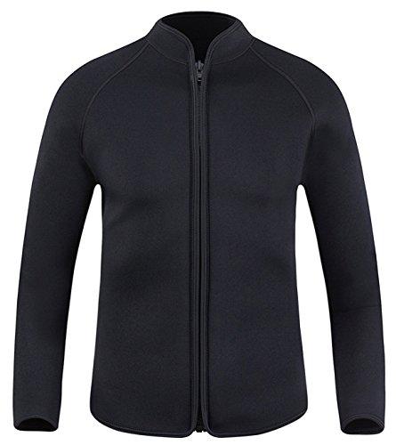 DIVE SAIL Men's 3mm Wetsuit Jacket Top Long Sleeve Neoprene Wetsuits (Simple Black, Medium)