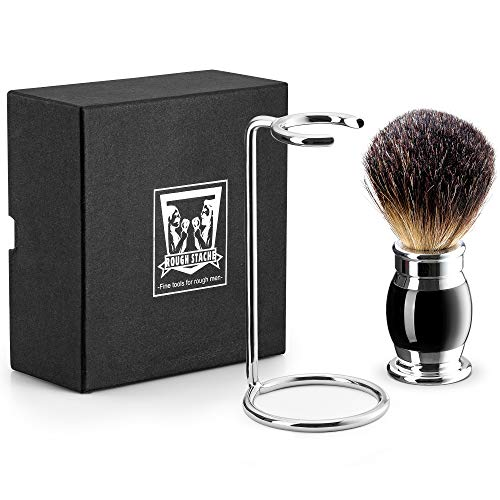 Shaving Brush Set - Professional Shaving Brush with 100% Pure Badger Bristles -Black Resin Handle - Solid Chrome Shaving Brush Stand for Wet Shave - Safety - Set Bristle Shaving