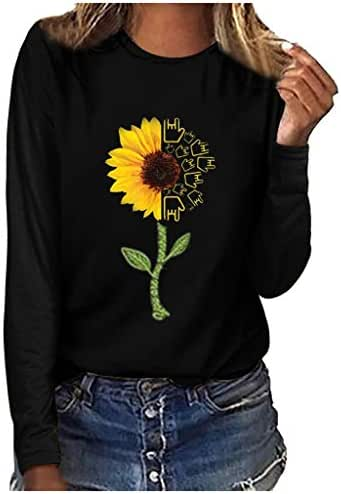 Blouse for Women Plus Size Fashion Print Round Neck Long Sleeve T-Shirt Tops Casual Loose Sweatshirt Tunic