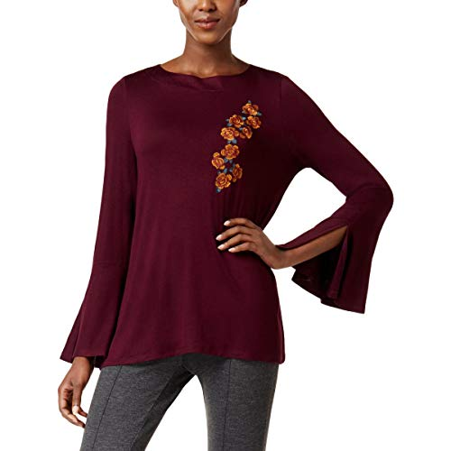 Cable & Gauge Womens Embroidered Bell Sleeves Blouse Purple XL