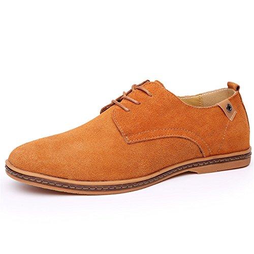 cordones de SHELAIDON hombre Zapatos Camello Oxford trabajo Casual de Vestir para Planos de Cuero ttvqwf