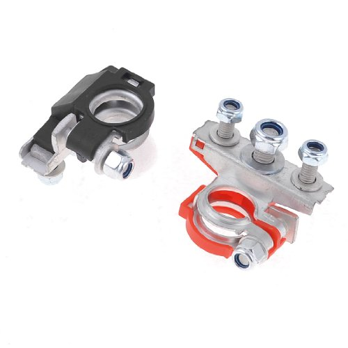 uxcell Battery Terminal, 2 PCS Metal Positive Negative Top-Post Battery Terminal Connector Clamp for Auto Car