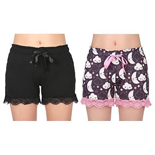 (HDE Women's Pajama Shorts Cotton PJ Sleepwear Bottoms 2 Pack (Black & Stars and Moon, X-Large))