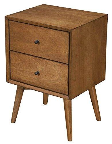 Alpine Furniture 966-02 Flynn Mid Century Modern 2 Drawer Nightstand, 15