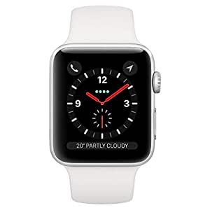 Apple Watch Series3 GPS+Cellular, 38mm Silver Aluminium Case with White Sport Band
