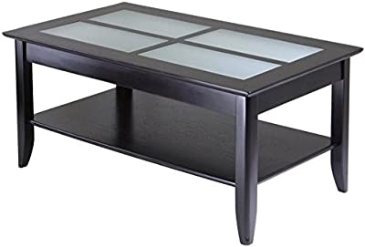 Pemberly Row Solid Wood Glass Top Rectangular Coffee Table In Espresso