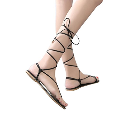 AIMTOPPY HOT Sale, Women's shoes Roman lace straps tie flat bottom high heel sandals (US:6, Black)