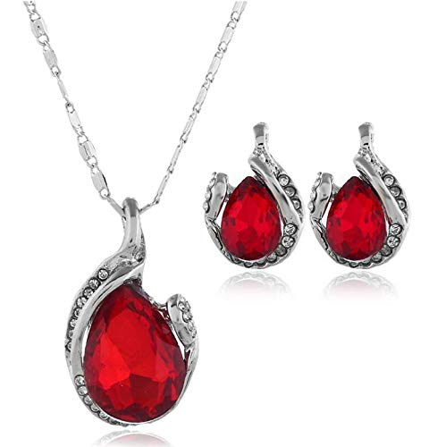 (New Jewelry Set Beauty Teardrop Crystal Inlay Pendant Necklace Stud Earrings Fashion Set Female Accessories (Red))