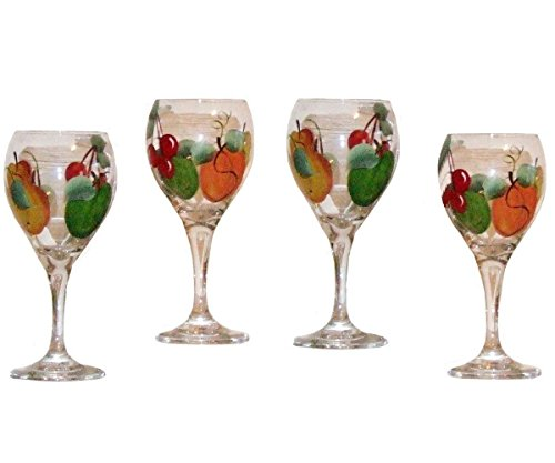 Set of 4 Sangria Glasses. Hand Painted in Bright Fruit Design ()