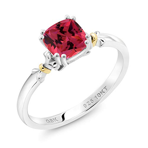 925 Silver and 10K Yellow Gold Women Engagement Ring Set with Fancy Pink Zirconia from Swarovski (Size 5)