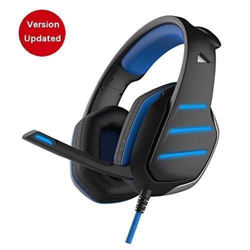 Daping Gaming Headset PS4 Dolby Surround 7.1, Bass Over-Ear Headphones with Mic Noise Isolating, Sports Performance Ear Pads, Rotating Ear Cups, 3.5 Jack LED Lights for Laptop, PC, Mac, Smartphone