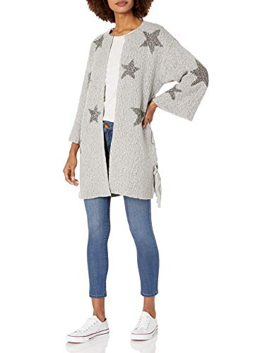 cupcakes and cashmere Women's Etoile Star Jacquard Cardigan with lace up Sides, Light Leather Grey, Extra Small