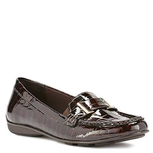 Walking Cradles Womens March Loafer Flat Brown Lagart Patent Croco