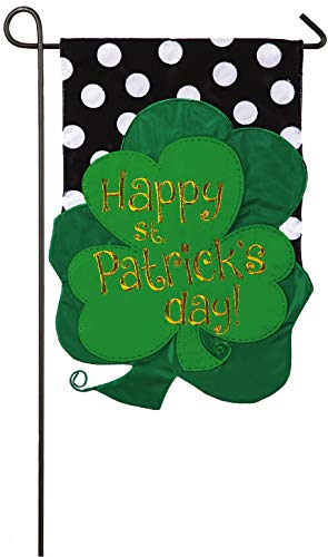 Evergreen St. Patrick's Day Bouquet Applique Garden Flag, 12.5 x 18 inches
