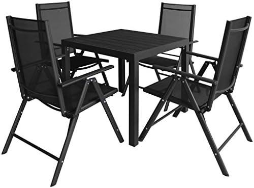 vidaXL Set Muebles Jardín 5 Pzs Aluminio Negro Mesa Sofá Sillón ...