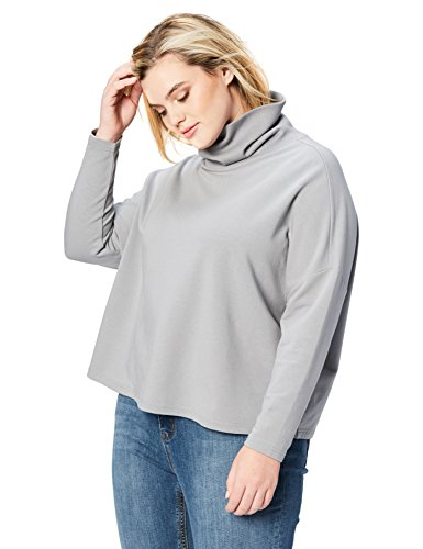 Daily Ritual Women's Plus Size Terry Cotton and Modal Funnel Neck Pullover,
