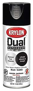 Krylon K08801007 'Dual' Superbond Paint and Primer, Gloss Black, 12 Ounce