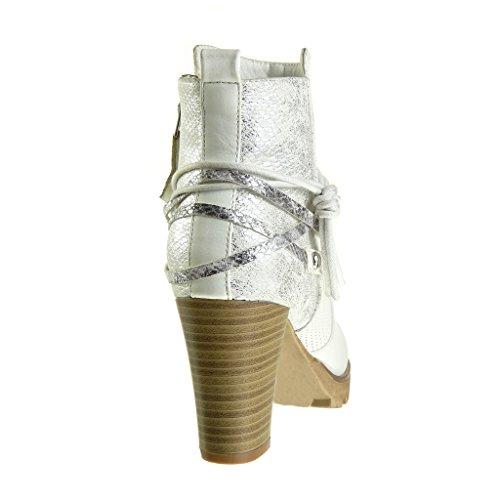 Angkorly Botines 8 Ancho Serpiente Moda Alto Cavalier Nodo Blanco De Cm Tacón Bimaterial Zapatillas Talón Mujer Camuflaje Piel ZOwZqr