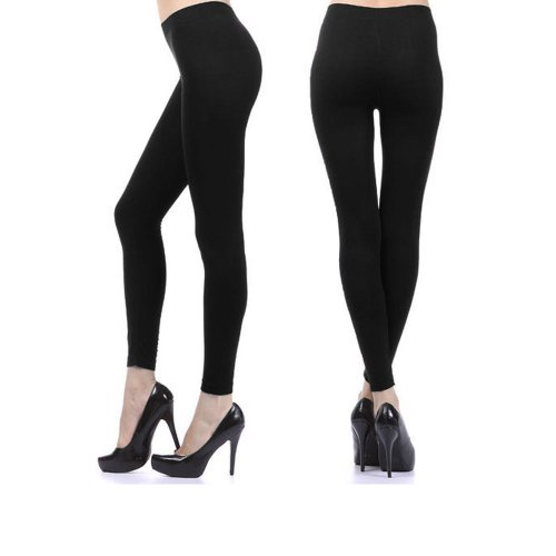 Womens Ankle Length Footless Tights Pantyhose Seamless Stretch Opaque Black !