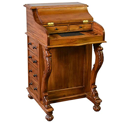 Crafters and Weavers Legacy Mahogany Wood Captain's Desk - Light Brown Walnut
