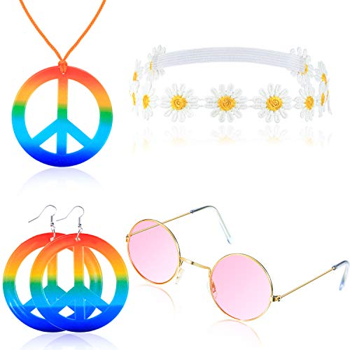 (Tatuo Hippie Costume Accessory Set, Include Peace Sign Necklace, Peace Sign Earring, Hippie Glasses and Flower Headband )