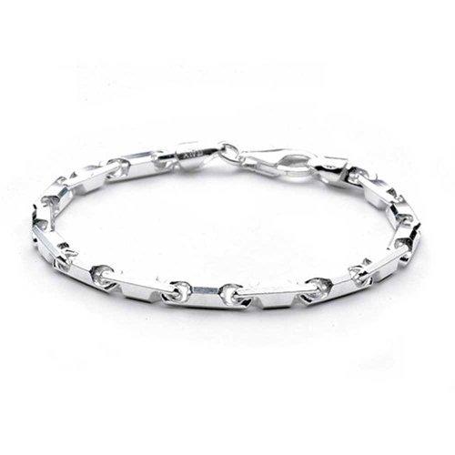 Sterling Silver Bracelet 18 Gauge Barrel Links Chain (Barrel Link Bracelet)