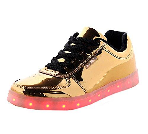 Tortor 1Bacha Unisex Men Women Fashion Metallic LED Light Up Flashing Glow Luminous Sneaker Skate Shoes Gold jLMq3QG