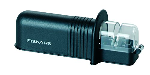 Fiskars Roll-Sharp Afilador de cuchillos con piedra de cerámica, Plástico, Negro, Essential, 1023811