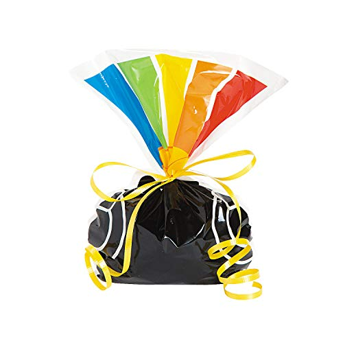Fun Express - Pot Of Gold Rainbow Shaped Cello Bag for St. Patrick's Day - Party Supplies - Bags - Cellophane Bags - St. Patrick's Day - 12 Pieces