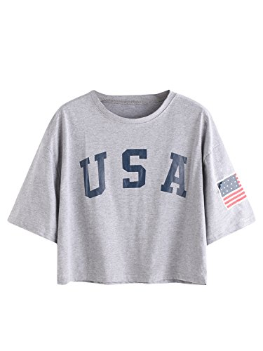 SweatyRocks-Womens-Letter-Print-Crop-Tops-Summer-Short-Sleeve-T-shirt