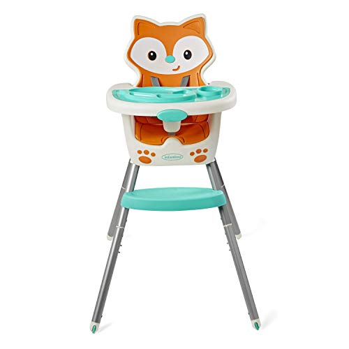 Infantino 4-in-1 Highchair - Space-Saving, Multi-Stage Booster and Toddler Chair with Multi-use Meal mat and Dishwasher-Safe Tray, in a Fox-Themed Design