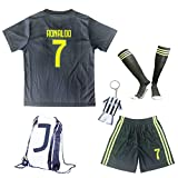 GamesDur 2018/2019 Cristiano Ronaldo #7 Third Black Soccer Kids Jersey & Short & Sock & Soccer Bag Youth Sizes (11-12 Years)