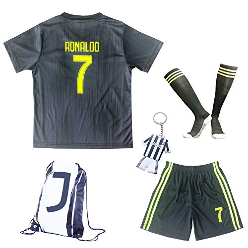 6edb6b79b GamesDur 2018 2019 Ronaldo  7 Third Black Soccer Kids Jersey   Short   Sock