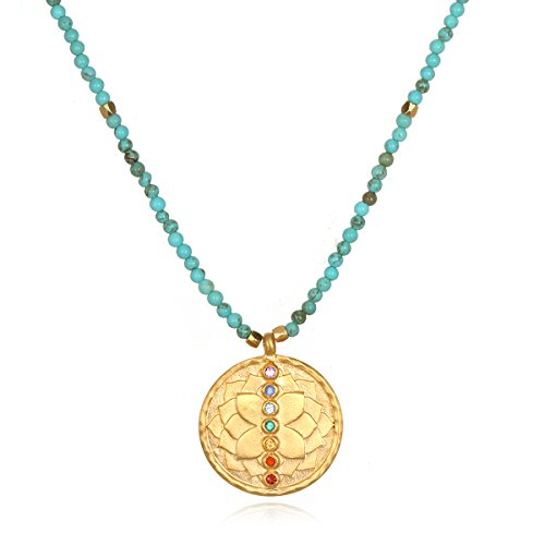 Multi Gemstone Journey Pendant - Satya Jewelry Women's Turquoise Gold Chakra Pendant Necklace 18-Inch, Blue, One Size