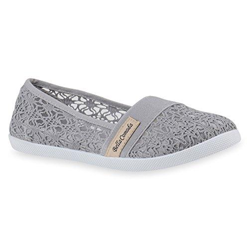 Stiefelparadies Damen Sneaker Slip Ons mit Plateau Glitzer Flandell  38 EUSchwarz Muster